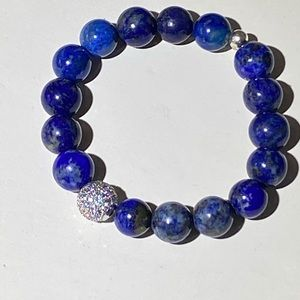 Real lapis lazuli beads with sterling and cz bead